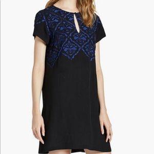 Luck Brand Black + Cobalt Blue Beaded Shift Dress
